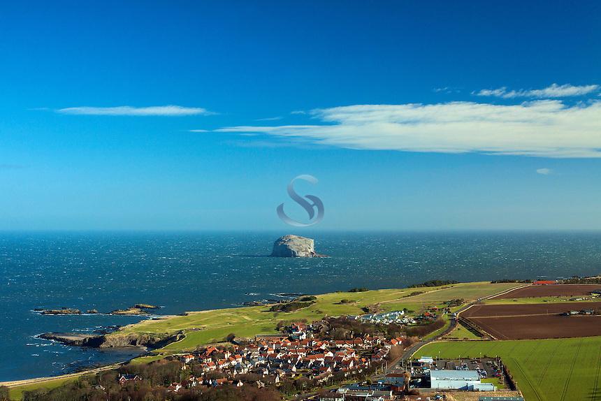 Bass Rock, North Berwick and the North Sea from North Berwick Law, East Lothian Coastline