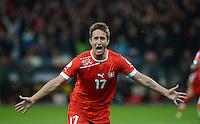 Fussball International  WM Qualifikation 2014   12.10.2012 Schweiz - Norwegen JUBEL Mario GAVRANOVIC (Schweiz) nach seinem Tor zum 1-0