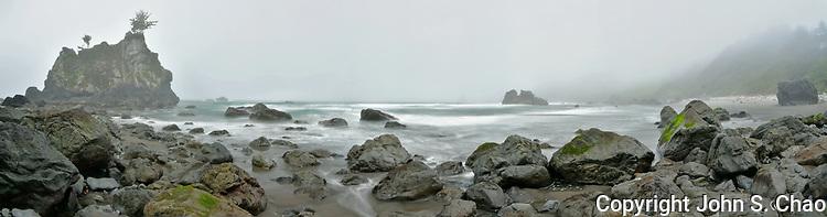 Moody fog shrouds Hidden Beach, Redwood National & State Parks, Klamath, California