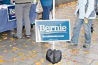 Sanders supporters gather after Democratic presidential candidate and Vermont senator Bernie Sanders spoke at a small rally outside the NH State House after he filed the required paperwork and paid the $1000 filing fee to be on the 2020 Democratic presidential ballot in the NH Secretary of State's Office in Concord, New Hampshire, on Thu., October 31, 2019. As part of the filing process, Sanders signed a ceremonial primary ballot that is signed by all candidates in the race.