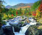 USA, New York, A waterfall in the Adirondacks