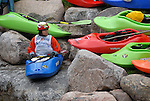1 June 2007: Japanese kayaker, Mumu Kato, waits her turn to compete in the Pro Women's Freestyle competition at the Teva Mountain Games, Vail, Colorado.