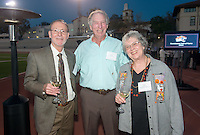 John Pohlmann '62 M'63 P'18, Ed Elliott '63 and Lyn (Gawley) Pohlmann '64 P'92. Alumni, family, staff and students at the Occidental College Athletics Hall of Fame event, part of Homecoming weekend, Oct. 24, 2014 on Patterson Field. (Photo by Marc Campos, Occidental College Photographer)