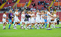 "Players of team New Zealand perform the ""Haka"" during the FIFA Women's World Cup at the FIFA Stadium in Dresden, Germany on July 1st, 2011."