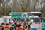 17.03.2019, BayArena, Leverkusen, GER, 1. FBL, Bayer 04 Leverkusen vs. SV Werder Bremen,<br />  <br /> DFL regulations prohibit any use of photographs as image sequences and/or quasi-video<br /> <br /> im Bild / picture shows: <br /> der Werder Bus kommt in Leverkusen an<br /> <br /> Foto © nordphoto / Meuter