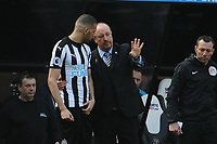 Newcastle United manager Rafa Benítez gives Islam Slimani of Newcastle United instructions before he comes on during Newcastle United vs Arsenal, Premier League Football at St. James' Park on 15th April 2018