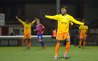Gozie Ugwu of Wycombe Wanderers  appeals for a decision during the Sky Bet League 2 match between Dagenham and Redbridge and Wycombe Wanderers at the London Borough of Barking and Dagenham Stadium, London, England on 9 February 2016. Photo by Andy Rowland.
