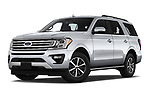 Stock pictures of low aggressive front three quarter view of 2019 Ford Expedition XLT 5 Door SUV Low Aggressive