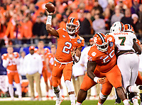 Charlotte, NC - DEC 2, 2017: Clemson Tigers quarterback Kelly Bryant (2) throws the football from the pocket during ACC Championship game between Miami and Clemson at Bank of America Stadium Charlotte, North Carolina. (Photo by Phil Peters/Media Images International)