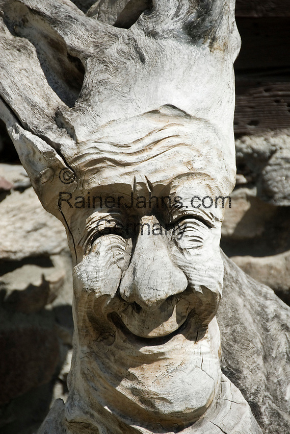 "CHE, SCHWEIZ, Kanton Bern, Berner Oberland, Wurzelschnitzerei: handgeschnitzter, freundlicher ""Baumgeist""