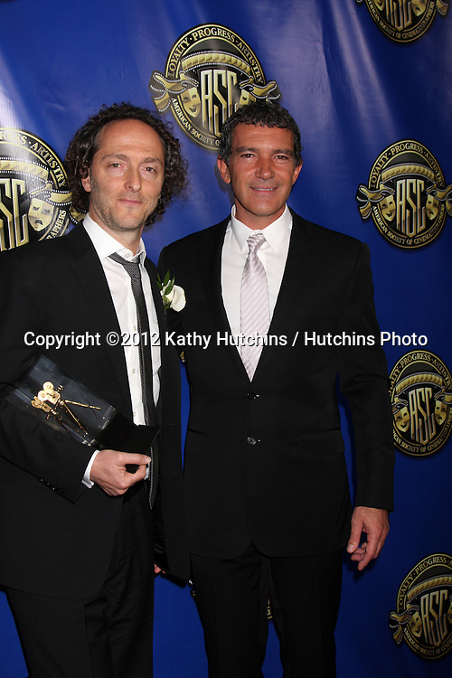 LOS ANGELES - FEB 12:  Emmanuel Lubezki, Antonio Banderas at the Press Area of the 2012 American Society of Cinematographers Awards at the Grand Ballroom, Hollywood & Highland on February 12, 2012 in Los Angeles, CA