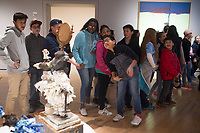 NWA Democrat-Gazette/CHARLIE KAIJO Students from Holy Family Cathedral School of Tulsa, Okla. look at art, Friday, March 2, 2018 at Crystal Bridges in Bentonvile.<br /><br />Outside observers and local artists say Crystal Bridges has become an example for other museums and a way for people of any background to access the arts since it opened in late 2011.