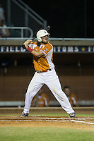 Skyler Geissinger (15) of the Asheboro Copperheads at bat against the High Point-Thomasville HiToms at Finch Field on June 12, 2015 in Thomasville, North Carolina.  The HiToms defeated the Copperheads 12-3. (Brian Westerholt/Four Seam Images)