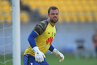 Phoenix's Stefan Marinovic warms up for the A-League football match between Wellington Phoenix and Brisbane Roar at Westpac Stadium in Wellington, New Zealand on Saturday, 23 November 2019. Photo: Dave Lintott / lintottphoto.co.nz