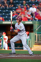 Frisco RoughRiders shortstop Drew Robinson (16) at bat during a game against the Springfield Cardinals  on June 4, 2015 at Hammons Field in Springfield, Missouri.  Frisco defeated Springfield 8-7.  (Mike Janes/Four Seam Images)