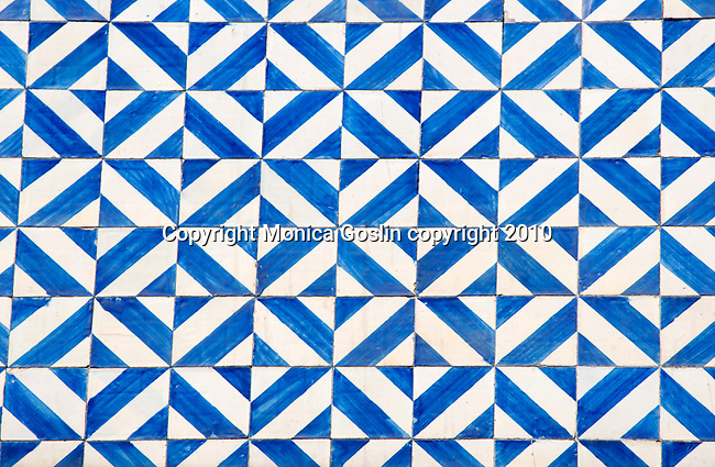 Blue and white tiles in Porto, Portugal.