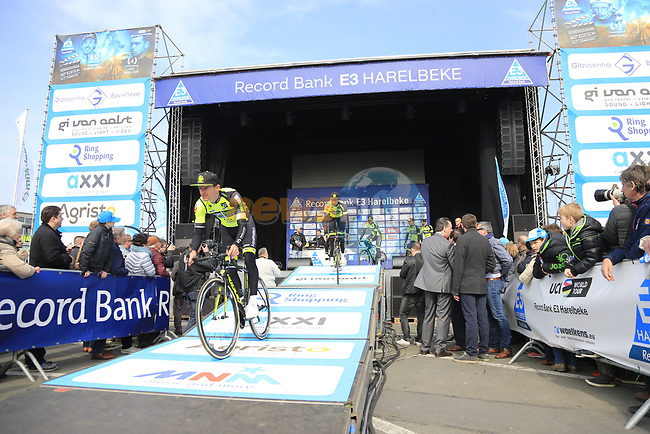 WB Veranclassic Aquality Protect team presented to the crowd before the start of the 60th edition of the Record Bank E3 Harelbeke 2017, Flanders, Belgium. 24th March 2017.<br /> Picture: Eoin Clarke | Cyclefile<br /> <br /> <br /> All photos usage must carry mandatory copyright credit (&copy; Cyclefile | Eoin Clarke)