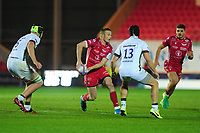 Johnny McNicholl of Scarlets in action during the European Rugby Challenge Cup Round 1 match between the Scarlets and London Irish at Parc Y Scarlets in Llanelli, Wales, UK. Saturday 16th November 2019