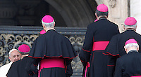 Papa Francesco saluta alcuni vescovi al termine dell'udienza generale del mercoledi' in Piazza San Pietro, Citta' del Vaticano, 5 febbraio 2014.<br /> Pope Francis greets bishops at the end of his weekly general audience in St. Peter's Square at the Vatican, 5 February 2014.<br /> UPDATE IMAGES PRESS/Riccardo De Luca<br /> <br /> STRICTLY ONLY FOR EDITORIAL USE