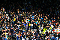 Leeds United fans celebrates going 1-0 up<br /> <br /> Photographer Alex Dodd/CameraSport<br /> <br /> The EFL Sky Bet Championship Play-off  First Leg - Derby County v Leeds United - Thursday 9th May 2019 - Pride Park - Derby<br /> <br /> World Copyright © 2019 CameraSport. All rights reserved. 43 Linden Ave. Countesthorpe. Leicester. England. LE8 5PG - Tel: +44 (0) 116 277 4147 - admin@camerasport.com - www.camerasport.com