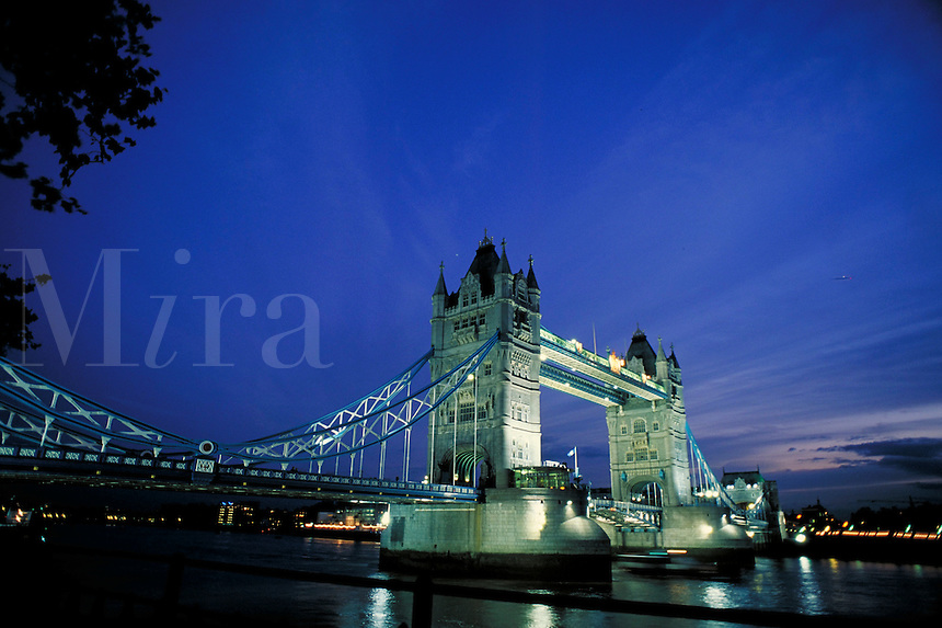 Tower Bridge at night. London, England. London, England.
