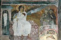 white angel,the myrrh-bearing women at the tomb,fresco,nave,northern wall,Milesheva  Monastery of Ascension of the Lord , 1234-1235