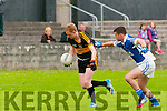 `Shannon Rangers V Dr. Crokes: Dr. Croke's Colm Cooper wins the ball from Shannon Rangers full back Shane Enright in the Garvey's Supervalue Senior County Football Championship Round 1 game in Tarbert on Saturday night last.