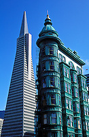 USA, California, San Francisco. Columbus Tower and the Trans America Buildin