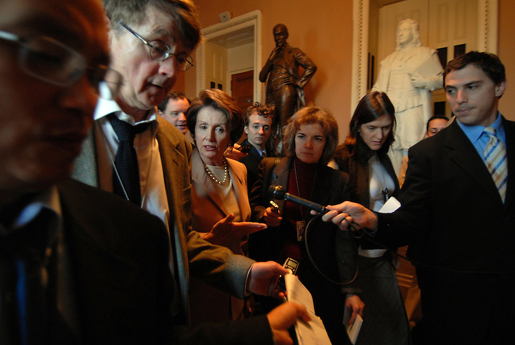 Speaker of the House Nancy Pelosi, D-CA., is mobbed by reporters in the Ohio Clock Corridor after the pen and pad briefing with Congressional leaders Senator Webb and .Senate Majority Leader Harry Reid.