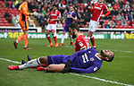 Leon Clarke of Sheffield Utd yells out after a chance dissappears during the championship match at the Oakwell Stadium, Barnsley. Picture date 7th April 2018. Picture credit should read: Simon Bellis/Sportimage