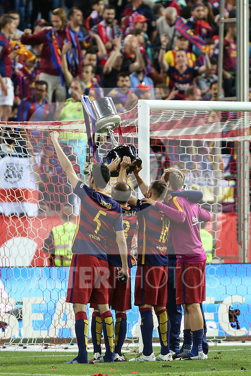 FC Barcelona's Sergio Busquets, Andres Iniesta, Jordi Alba and Ivan Rakitic  during Spanish Kings Cup Final match. May 22,2016. (ALTERPHOTOS/Rodrigo Jimenez)