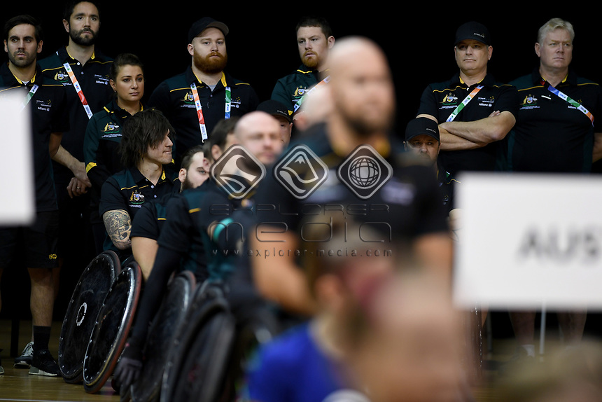 Australian Steelers staff<br /> Australian Wheelchair Rugby Team<br /> 2018 IWRF WheelChair Rugby <br /> World Championship / Day 1<br /> Sydney  NSW Australia<br /> Sunday 5th August 2018<br /> &copy; Sport the library / Jeff Crow / APC