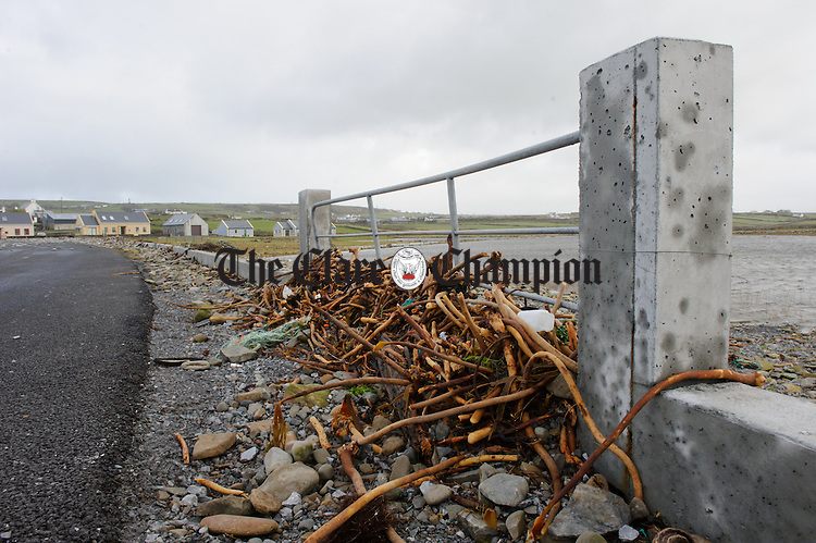 Seaweed and rocks caught on a gate at Clahane,Liscannor, following Storm Imogen. Photograph by John Kelly.