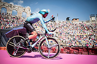Dario Cataldo (ITA/Astana) entering the Verona amphitheater after finishing the closing iTT<br /> <br /> Stage 21 (ITT): Verona to Verona (17km)<br /> 102nd Giro d'Italia 2019<br /> <br /> ©kramon