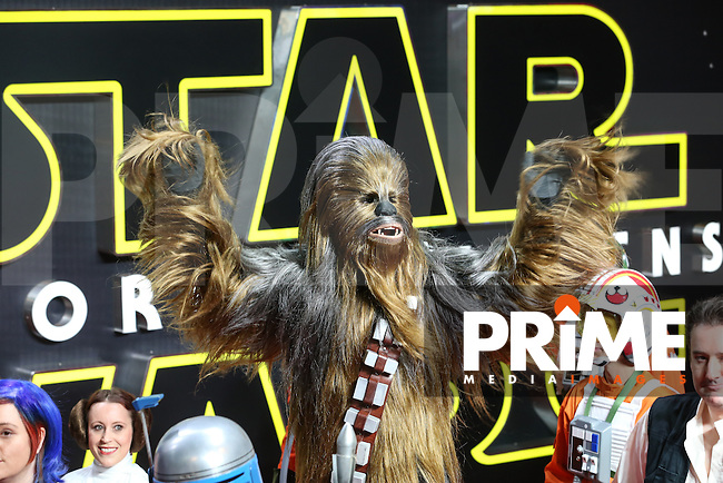 Chewbacca walks the red carpet during the STAR WARS: 'The Force Awakens' EUROPEAN PREMIERE at Odeon, Empire & Vue Cinemas, Leicester Square, England on 16 December 2015. Photo by David Horn / PRiME Media Images