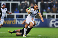 Ross Batty of Bath Rugby takes on the Newcastle Falcons defence. Aviva Premiership match, between Newcastle Falcons and Bath Rugby on January 2, 2016 at Kingston Park in Newcastle upon Tyne, England. Photo by: Patrick Khachfe / Onside Images