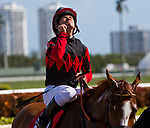 HALLANDALE BEACH, FL - JANUARY 27: Javier Castellano, aboard Girls Know Best #1, celebrates after  winning the Ladies' Turf Sprint Stakes on Pegasus World Cup Invitational Day at Gulfstream Park Race Track on January 27, 2018 in Hallandale Beach, Florida. (Photo by Liz Lamont/Eclipse Sportswire/Getty Images)