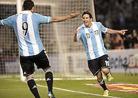 BUENOS AIRES, ARGENTINA, 02 DE JUNHO 2012 - ELIMINATORIAS SULAMERICANAS - ARGENTINA X EQUADOR - Lionel Messi (D) da Argentina, comemora após marcar gol diante do Equador, durante partida válida pelas Eliminatórias sul-americanas para a Copa de 2014, no Estádio Monumental de Núñez, em Buenos Aires, neste sábado. A seleção argentina venceu por 4 a 0.  (FOTO: JUANI RONCORONI / BRAZIL PHOTO PRESS).
