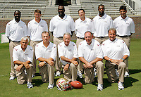 TALLAHASSEE, FL. 8/9/09-FSU-COACHES 0809 CH02-Florida State Football Coach Bobby Bowden, front row, center, is surrounded by his coaching staff during media day Sunday in Tallahassee...COLIN HACKLEY PHOTO