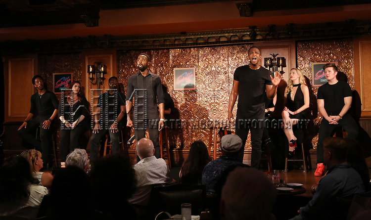 John Edwards and Jelani Remy with the cast during the Press Preview Presentation for the new production of 'Smokey Joe's Cafe' at Feinstein's/54 Below on June 27, 2018 in New York City.