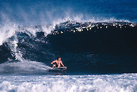 Ross Clarke Jones (AUS) surfing St Leu during a trip to Reunion Island in 1989. Photo: joliphotos.com