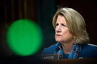United States Senator Shelley Moore Capito (Republican of West Virginia), listens during a US Senate Environment and Public Works Committee hearing with Andrew Wheeler, administrator of the Environmental Protection Agency (EPA), not pictured, on Capitol Hill in Washington, D.C., U.S., on Wednesday, May 20, 2020. <br /> Credit: Al Drago / Pool via CNP/AdMedia