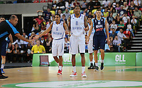 GB's Devan Bailey & GB's Drew Sullivan disagree with a decision during the EuroBasket 2015 2nd Qualifying Round Great Britain v Bosnia & Herzegovina (Euro Basket 2nd Qualifying Round) at Copper Box Arena in London. - 13/08/2014