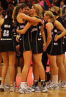 Irene Van Dyk hugs Casey Williams after the win during the New World International Netball Series between the NZ Silver Ferns and England at Arena Manawatu, Palmerston North, New Zealand on Wednesday, 18 October 2008. Photo: Dave Lintott / lintottphoto.co.nz