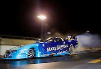 Jan 14, 2015; Jupiter, FL, USA; NHRA funny car driver Tommy Johnson Jr during preseason testing at Palm Beach International Raceway. Mandatory Credit: Mark J. Rebilas-USA TODAY Sports
