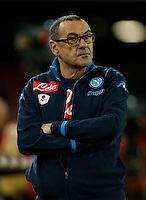 Napoli's coach  Maurizio Sarri looks  during the  italian serie a soccer match,between SSC Napoli and Torino      at  the San  Paolo   stadium in Naples  Italy , January 07, 2016