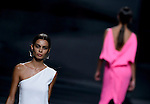 A model presents creation of Juanjo Oliva Spring-Summer 2014 collection during the Madrid Fashion Week in Madrid on September 12, 2014.  PHOTOCALL3000/ DP