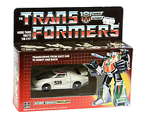 BNPS.co.uk (01202 558833)<br /> Pic: Vectis/BNPS<br /> <br /> PICTURED: Hasbro 1984 G1 Transformers Wheeljack race car<br /> <br /> One man's epic collection of retro eighties' toys has been sold for £220,000 by his family following his death.<br /> <br /> Dr Cornel Flemming amassed more than 1,600 toy action figures and cars for franchises like Star Wars, He-Man and Transformers. <br /> <br /> The market for nostalgic toys is booming at the moment which is reflected in the prices some of the toys achieved.<br /> <br /> An unopened pack of three He-Man figures featuring He-Man, Teela and Ram Man made by Mettel sold for an incredible £12,000.
