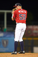 Mississippi Braves pitcher Mike Nesseth (52) gets ready to deliver a pitch during a game against the Pensacola Blue Wahoos on May 28, 2015 at Trustmark Park in Pearl, Mississippi.  Mississippi defeated Pensacola 4-2.  (Mike Janes/Four Seam Images)