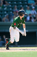 Shortstop Grant Williams (4) of the Greenville Drive bats runs toward first base in a game against the West Virginia Power on Sunday, May 19, 2019, at Fluor Field at the West End in Greenville, South Carolina. Greenville won, 8-4. (Tom Priddy/Four Seam Images)